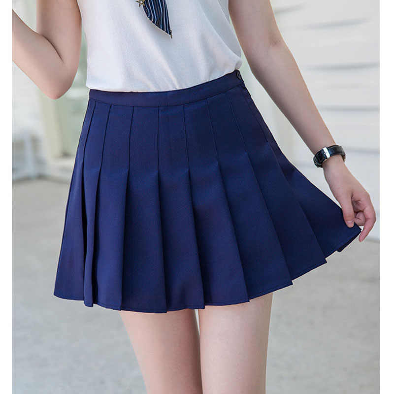 Высокая талия теннис юбка плиссированные Skort короткое школьное платье с внутренней шорты молния для подростков команды бадминтон скутеры теннис юбки