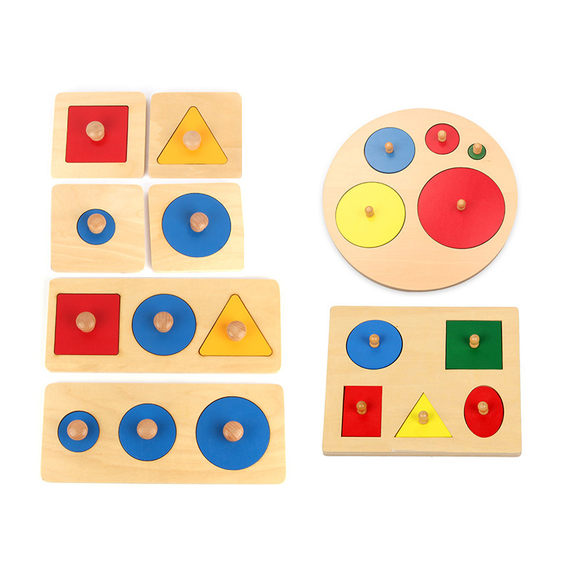 Montessori Sensory Tactile Wood Knob Puzzles Peg Board Geometric Shape Match Color Cognitive Puzzle Board Learning Education Toy