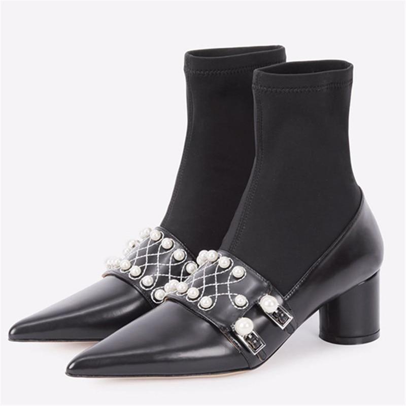 Pompes Bout Classique Feminino Haute Noir black Velvet Femmes Pointu Dames Bottes Inside Black Décoration Sapato Leather Solide Épais Perle Chaussures Talon Inside Métal Cheville SwtqS8