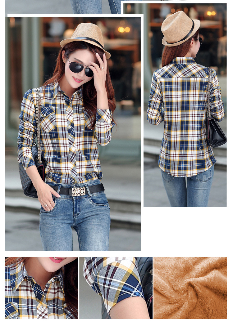19 Brand New Winter Warm Women Velvet Thicker Jacket Plaid Shirt Style Coat Female College Style Casual Jacket Outerwear 35