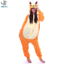 e4a7f94288 HKSNG New Adult Animal Sika Deer Kigurumi Cartoon Fleece Pajamas Onesies Cosplay  Costumes Jumpsuits Best Gift