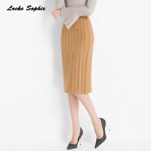 Hight waist skirts Womens Pencil 2019 Autumn Knitted cotton Splicing hollow out skirt Ladies Skinny Girls