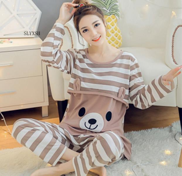 2018 Maternity Breastfeeding Sleepwear Nursing Pajamas Set Long Sleeve Loose Clothes For Pregnant Women Cotton