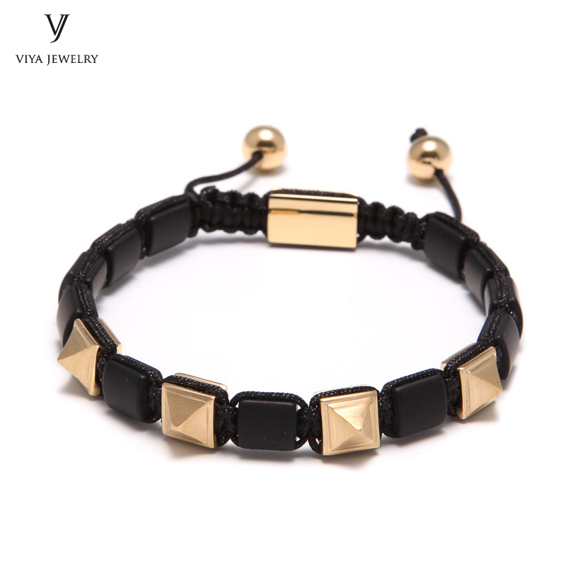 Настоящее ГЭС Black Onyx Bead Bracelet With Подвески Пирамида ручной Пирамида Браслеты пользовательские best Рождество друг Семья подарки