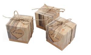 Image 2 - 100 ピースでのボンボニエールの結婚式ハート愛素朴なクラフト樹皮で黄麻布シックなヴィンテージひも結婚式の好意のギフトボックス