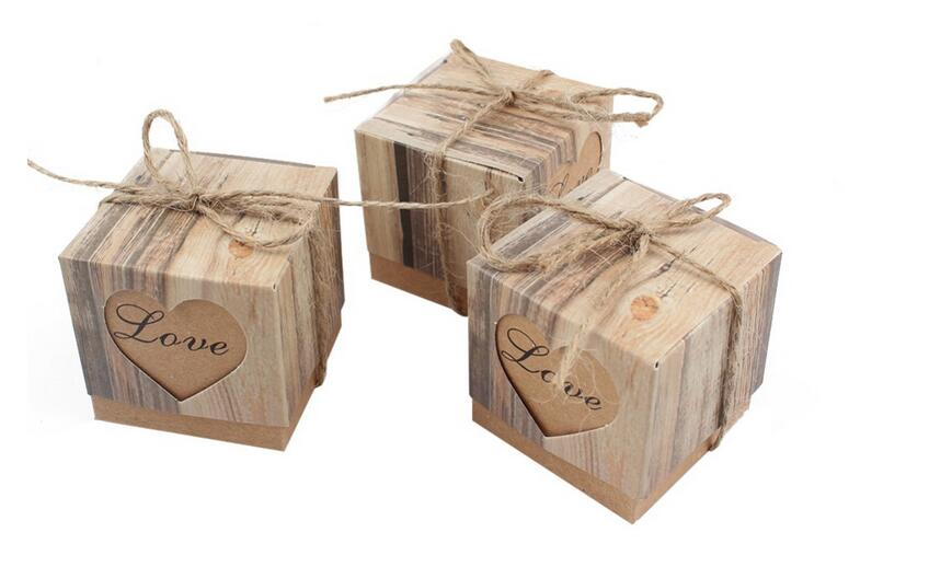 Image 2 - 100Pcs Wedding Bonbonniere Heart in Love Rustic Kraft Bark Candy Boxes with Burlap Chic Vintage Twine Wedding Favor Gift BoxGift Bags & Wrapping Supplies   -