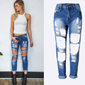 Sexy Women Destroyed Ripped Distressed Slim Denim Pants Hole Blue Boyfriend Jeans Trousers