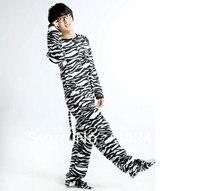 Warm Couple Nightwear jumpsuit onesies Cute cartoon All In One Adult Zebra Striped Unisex Footed Pajamas Onesie Tail Sleepwear
