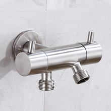 Faucet Wash-Machine Wall-Mounted Double-Outlet Outdoor 304-Stainless-Steel Bathroom Angle-Valve