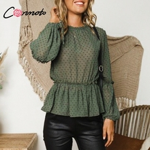 Conmoto Ruffle Polka Dot Chiffon Tops Blouses 2018 Autumn Mesh Peplum Ladies Tops Long Sleeve Streetwear Blouse Blusa Mujer