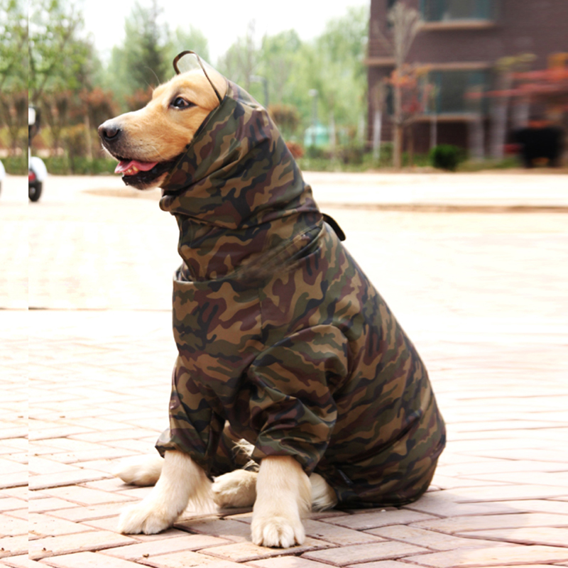 TAILUP Dog Clothes Camouflage Raincoat Light Clothes Waterproof Large Dog Golden Retriever Raincoat with Hood Pet Overalls ...