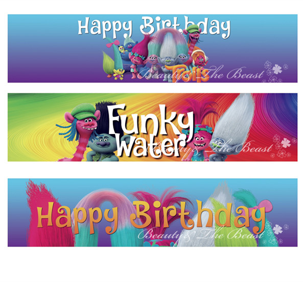 Clipart Bottle Water Labels, Trolls party, wrappers, Baby Shower ...