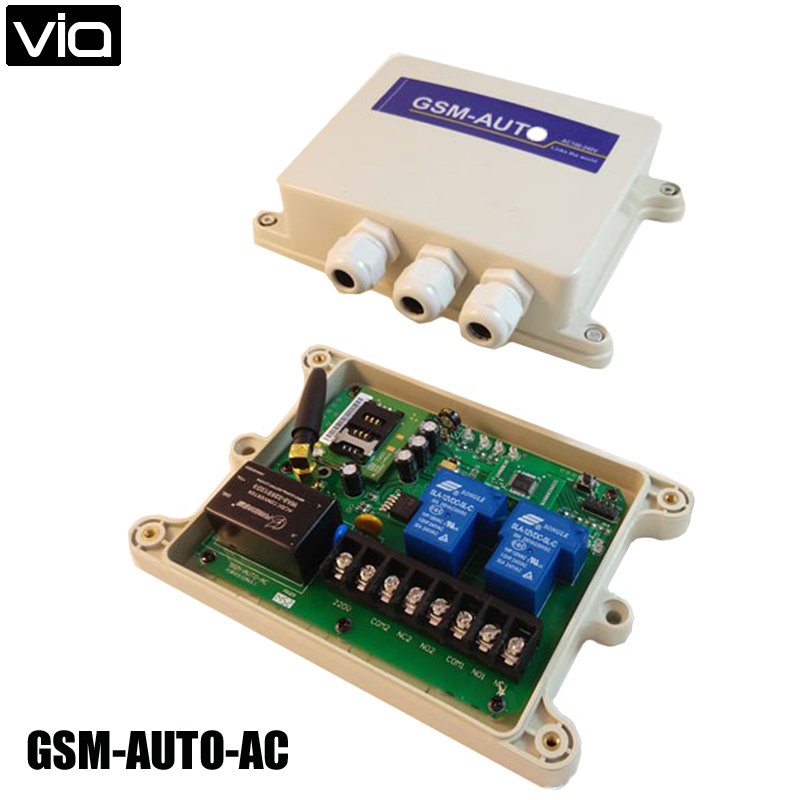 VIA GSM-AUTO-AC Type Free Shipping Double Big Power Relay Ooutput GSM Remote Control Switch Box Wireless gsm tog gsm alarm and remote relay switch control box three big power relay output power input dc18 72v