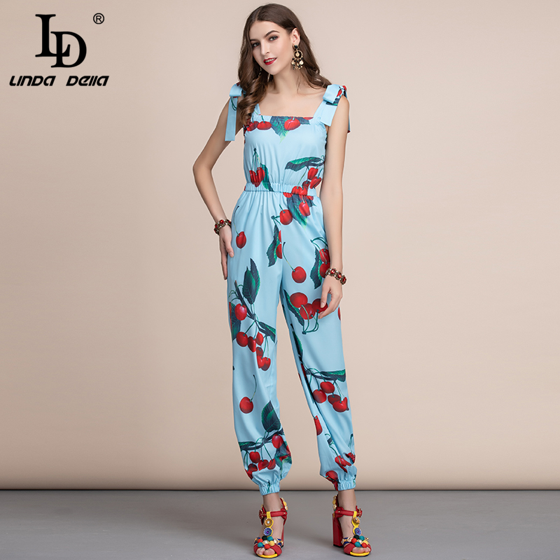 LD LINDA DELLA Casual Bohemian Cherry Print Women Jumpsuit Elastic Waist Elegant Ladies Long Jumpsuit Summer Plus Plus Playsuit