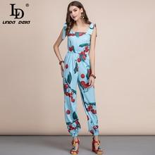 LD LINDA DELLA Casual Bohemian Cherry print Women Jumpsuit Elastic Waist Elegant Ladies long Summer Plus plus Playsuit