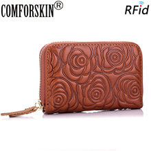 COMFORSKIN Brand Luxurious Guaranteed Cowhide Leather Card Wallet For Women 2019 New Arrivals Stylish RFID ID Credit Holder