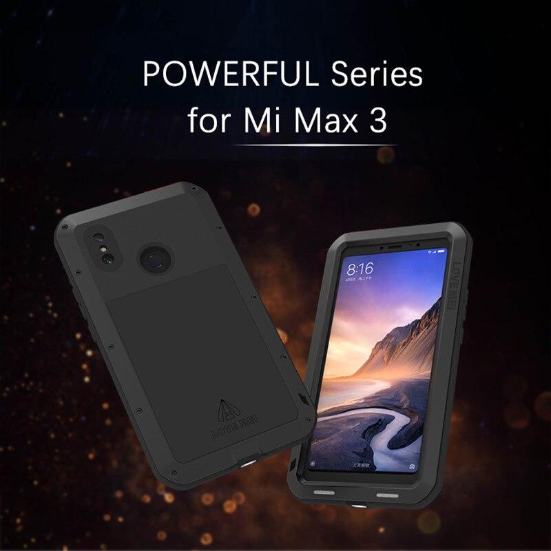 LOVEMEI puissant boîtier étanche en métal pour Xiao mi mi Max 3 Alu mi num armure antichoc coque arrière Protection complète du corps coque de téléphone