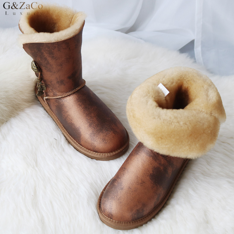G ZaCo Luxury Winter Snow Boots Real Wool Natural Sheepskin Boots Mid Calf Metal Button Genuine