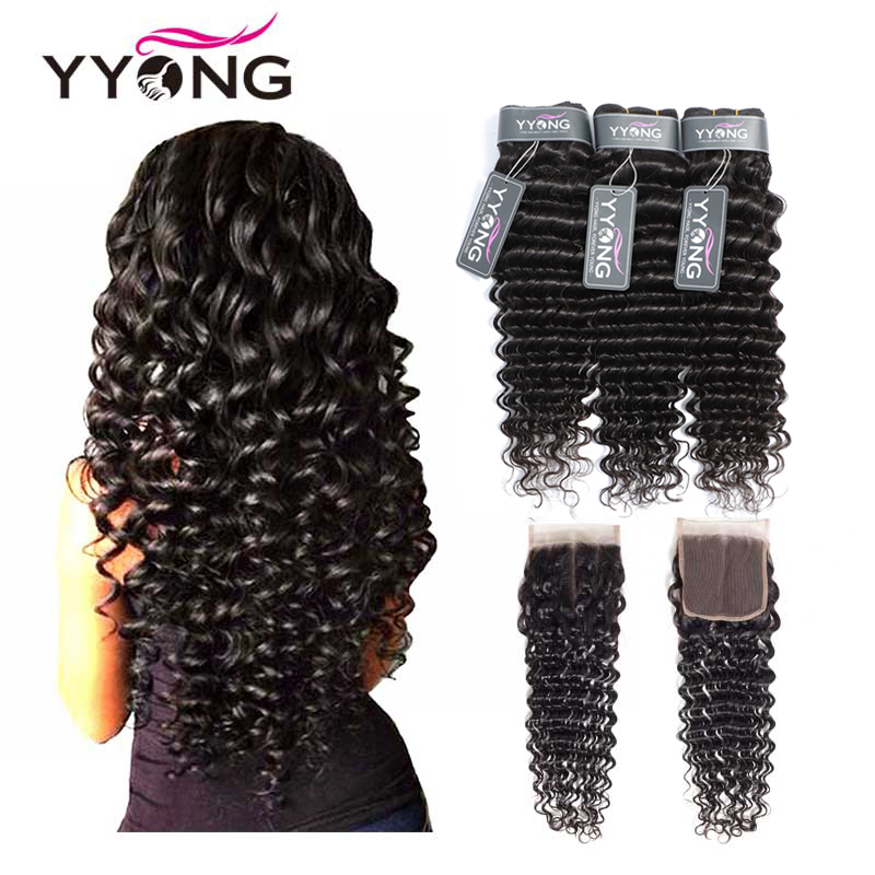 Yyong Hair Brazilian Deep Wave Human Hair 3 Bundles With 4 4 Lace Closure Remy Deep