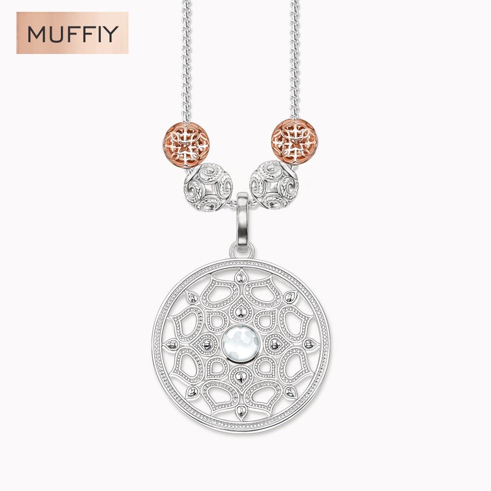 European Water Vine Pattern Necklace with 4 Karma Bead Silver Rose Gold Black Silver Plated Thomas