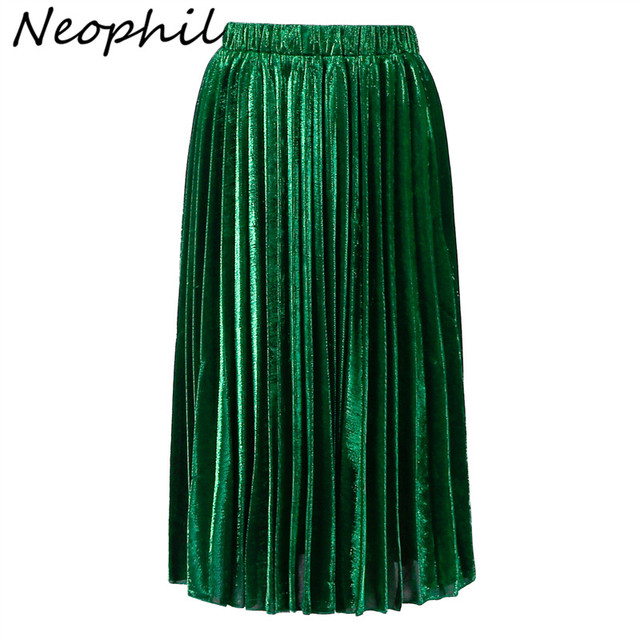 Neophil 2016 Green Gold Sequined Pleated High Waist Women Fashion Bling Bling Ladies Party Club Midi Skirts Tutu Faldas S08021