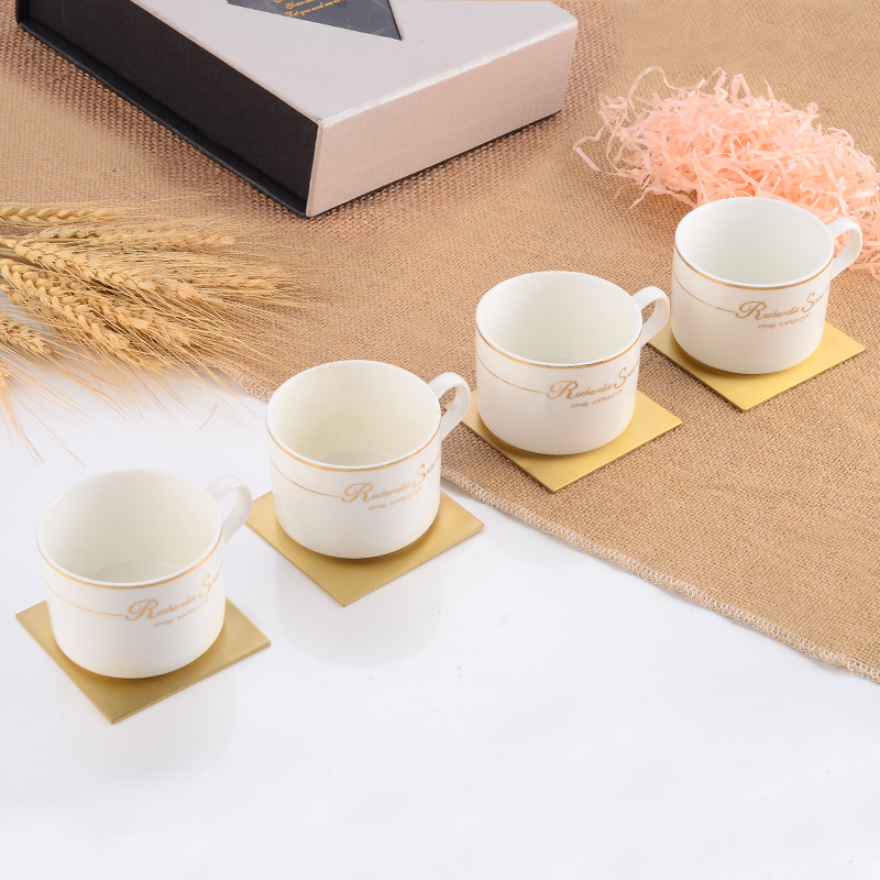 Tea Cup Coaster Brass Gold Placemat Hot Coffee Milk Cup Mats Square Waterproof Drink Mug Coasters Desktop Pad Table Decoration in Mats Pads from Home Garden