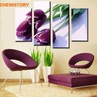 פרחים צבעוני סגולים ממוסגר 4 יחידות צייר מודרני הדפסת בד קישוט הבית וול ארט תמונה תמונת HD עבור חדר גדול