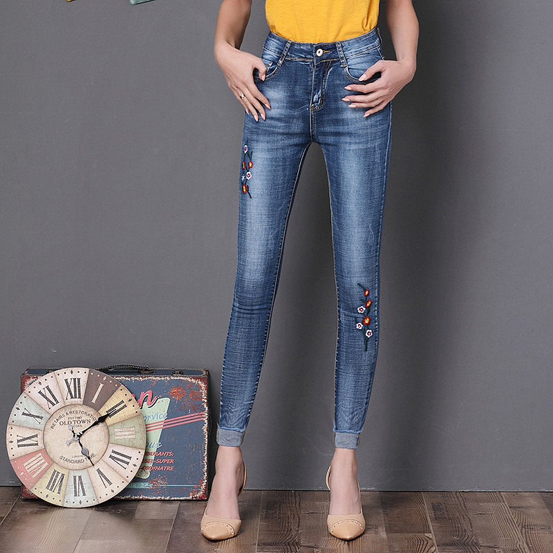 Women Embroidery Skinny Pencil Jeans 2017 New Fashion Ladies Slim Sexy Hip Lift High Waist Denim Pants Female Elastic Trousers 4xl plus size high waist elastic jeans thin skinny pencil pants sexy slim hip denim pants for women euramerican