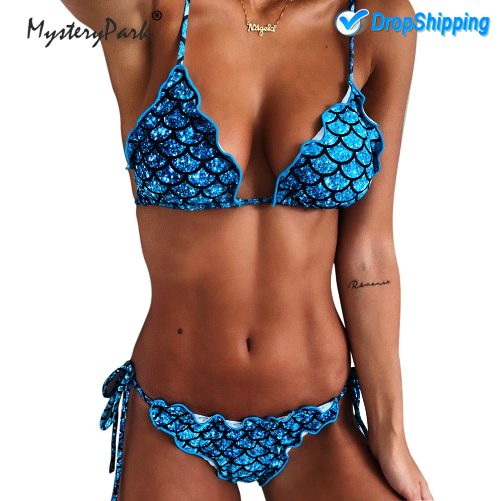MysteryPark 2019 Sexy Women Bandage Mermaid Bikini Set Swimsuit Beach Swim Wear Bathing Suit Biquini Swimming Summer Wholesale