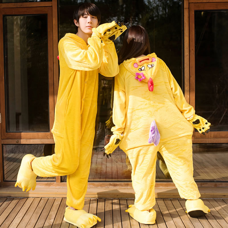 Halloween Costumes For Adults Animal Yellow Chick Cos Jumpsiut Unisex Flannel  Onesies Sleepwear Pajama Carnival Cosplay Pijama