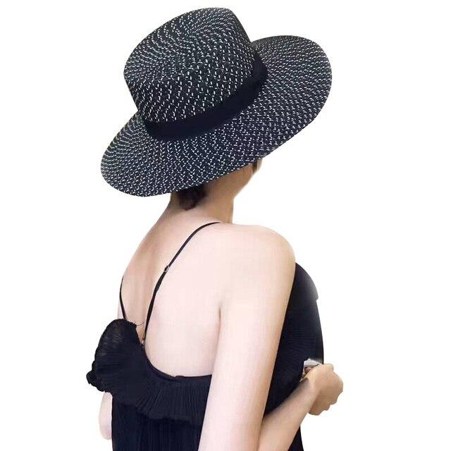 67c01b25d2c 2018 Wide Brim Straw Hat For Women Flat Top Summer Sun Hats For Women Wheat  Ladies