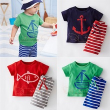 Boat Anchor Fish Striped Cotton Baby Boys Clothing Set