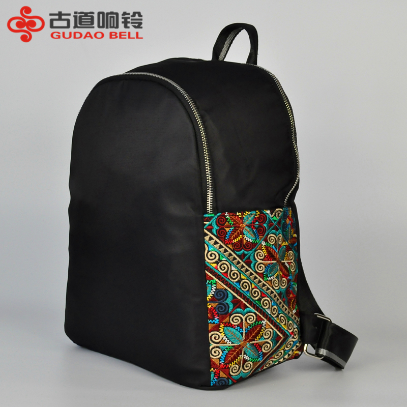 Ancient road bell embroidered shoulder 2018female New Retro simple embroidered Oxford cloth Student Travel Backpack поводок для собак happy house luxury цвет темно коричневый длина 125 см