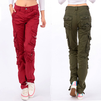 Ladies Casual Army Green Military Cotton Cargo Pants Spring Autumn Women Loose Multi Pockets Straight Street Dance Trousers 38 1