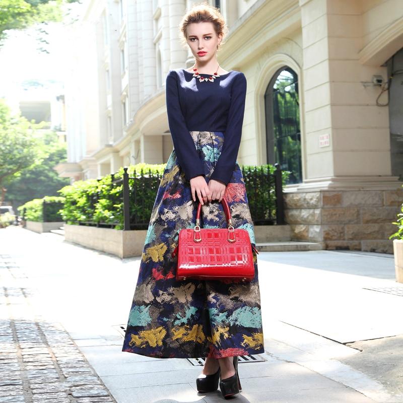 W stylu Vintage kwiatowy print wełny sukienka 2019 eleganckie kobiety jesień zima sukienka nowa wiosna duże wahadło długa sukienka w dużym rozmiarze moda ubrania w Suknie od Odzież damska na  Grupa 1