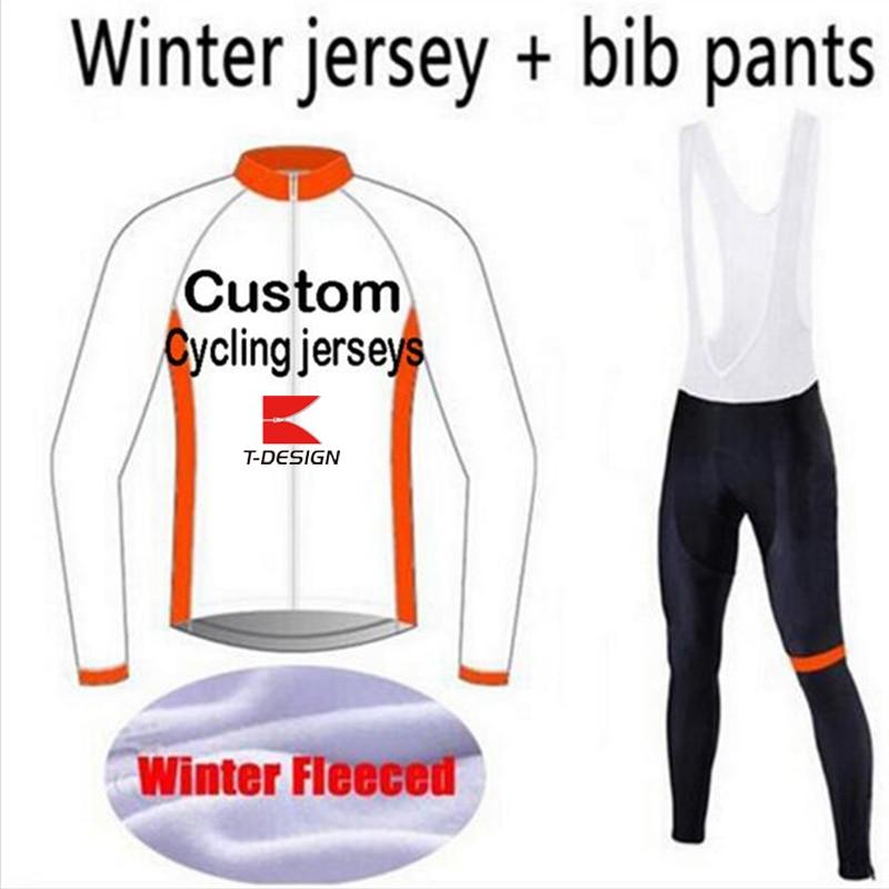 ФОТО 2016 Custom Long Sleeve Cycling Jersey And Bib Pants Customize Windproof Winter Fleece Bike Clothing Free Shipping, NO MOQ