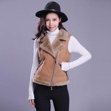 Leather Vest Women Shearling Coat Sheepskin Leather Outerwear Fashion Motorcycle Vest TJ001