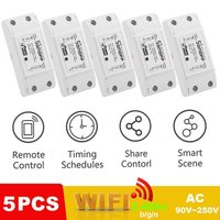 5PCS/SET Smart Wireless Wifi Switch 10A AC90 250V DIY Smart Wireless Remote Switch Home Controller Suitable for Android