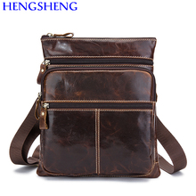 Hengsheng promotion cow leather black men shoulder bags with quality genuine men messengers bag of hot sale male shoulder bags