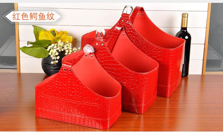 Leather Home Storage Gift basket portable fruit flower package box case Beer Red Wine rack holder for Christmas Holiday Presents