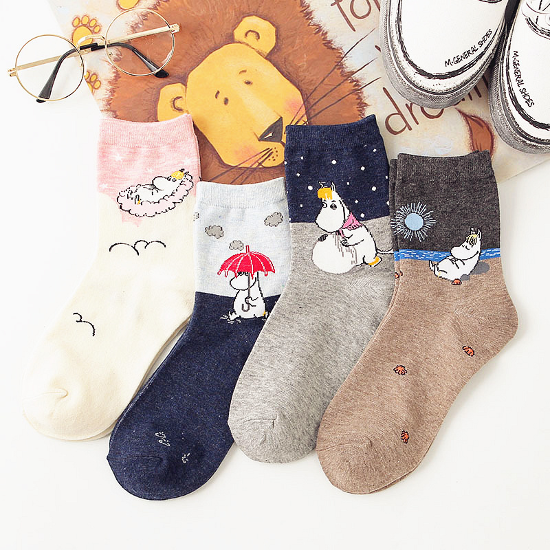 Dreamlikelin Women Cute Hippo Socks Cartoon Spring Autumn Socks Animal Print Funny Short Socks Gifts