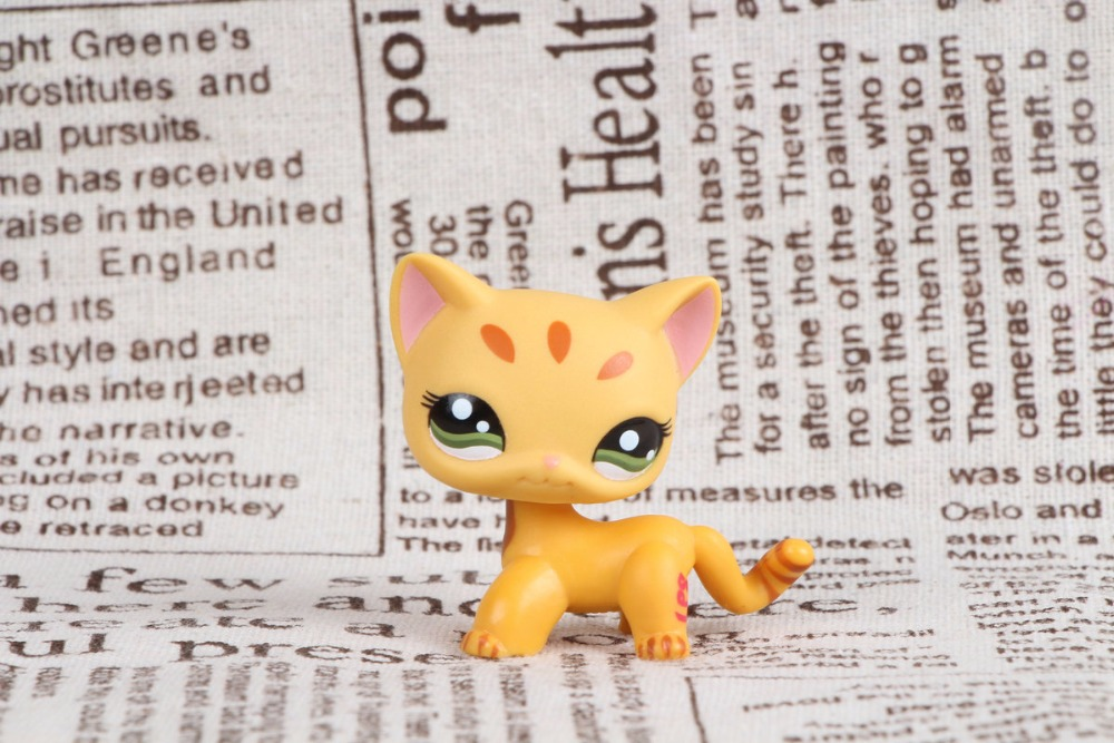 New pet Genuine Original LPS #1377 Shorthair Standing Brown Stripe Orange Kitty Cat Collection figure Toys