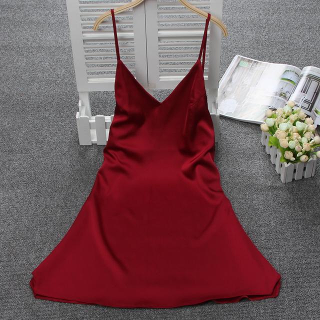Senhoras Camisola De Cetim de Seda Sexy Camisola de Decote Em V Elegante Camisa Verão Camisa Início Encantador Vestido de Noite Para As Mulheres do Sono