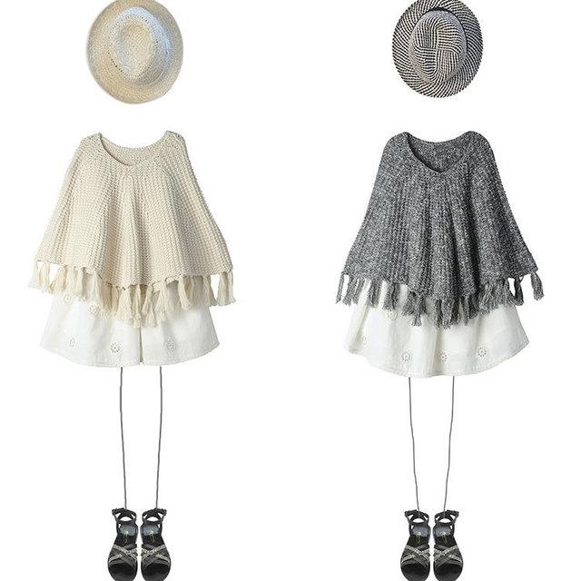 Comercio al por mayor 2016 nuevas capas de las muchachas muchachas del otoño del algodón Caliente de punto de lana de cuello redondo franja chal abrigos suéter tamaño de la selección