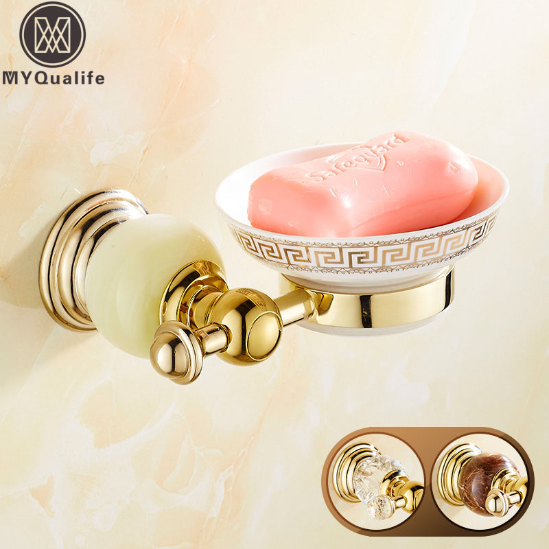 Free Shipping Crystal and Jade Wall Mounted Brass Bath Kitchen Soap Dish Ceramic Dish Holder wall mounted plastic soap dish holder