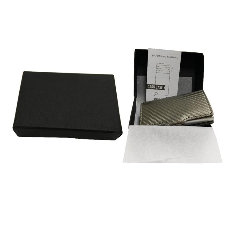 e075dddd0 CaseKey Antitheft Mini Cartera de cuero de Pu de carbono de alta calidad  Slim hombres de cuero RFID Mini cartera automática de tarjeta de crédito en  ...