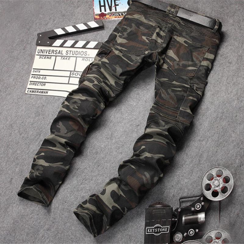 ФОТО Fashion Mens Camouflage Biker Jogger Jeans Zipper Pockets Designer Cargo Denim Pants Slim Fit Camo Moto Jean Trousers