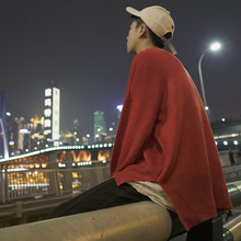 2018 retro solid color round neck bottoming shirt pullover loose sweater men's sweater autumn and winter size M-XL free postage