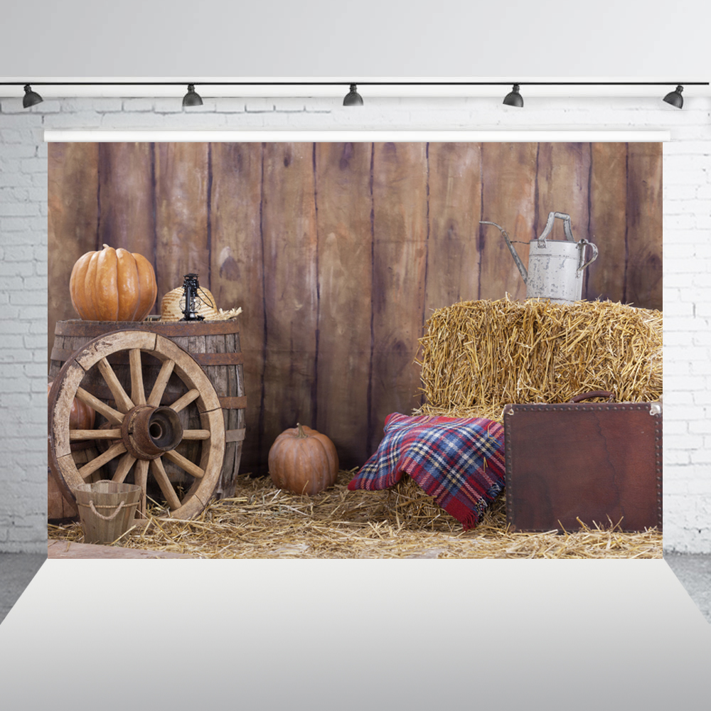 Autumn Rural Farm Pumpkins Wheel Haystack Photography Backgrounds Vinyl Custom Baby Children Backdrop For Photo Studio XT 5466 in Background from Consumer Electronics