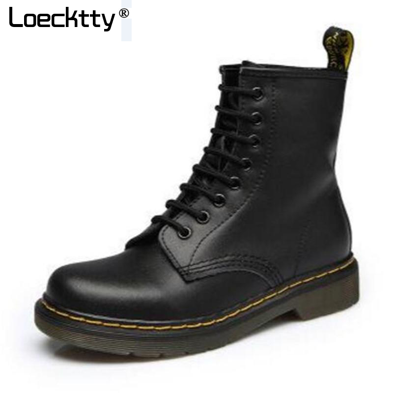 2018 High quality Genuine Leather Women Boots Dr Riding Boots shoes High Top Motorcycle Autumn Winter shoes Women snow Boots